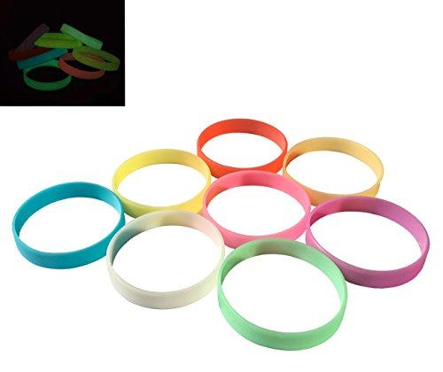 VEWCK Classic Rainbow Bracelet 8Pcs Light Silicone Bangle Glow in the Dark (Glow Wristband)