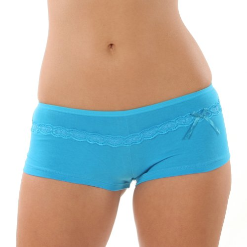 Cotton Boxer with Embroidered Lace Trim. 12 Panties, 7 Assorted Colors per Pack.