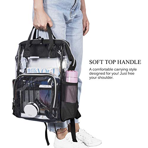 CoolBELL Clear Backpack Transparent Bag Bookbag Stadium Bag (Rose Gold)
