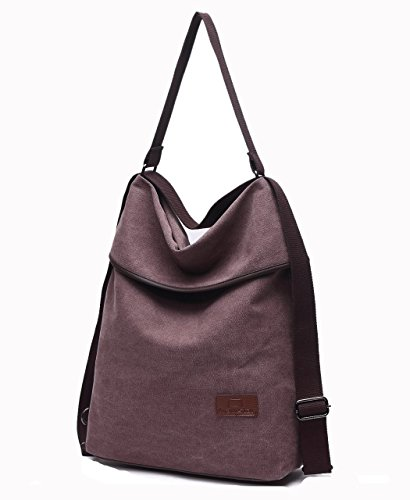 Casual Vintage Bag Coffee Multifunctional Shoulder Rucksack Woman Bags Large Myhozee Canvas Type Bag BFwzq5xPI