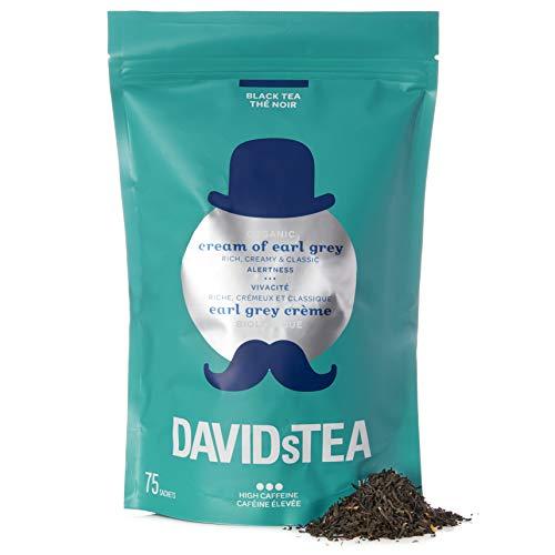 DAVIDsTEA Organic Cream of Earl Grey Tea Sachets, Premium Black Tea with Bergamot and Vanilla, 75 Teabags Total