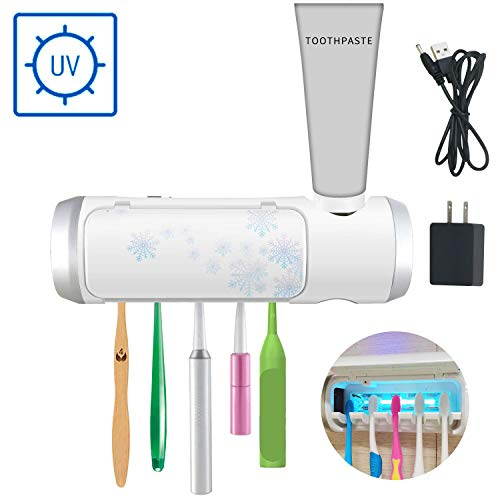 AQUATREND UV Toothbrush & Toothpaste Holder Sanitizer with Ultraviolet Light Sterilization Function, - Mirrors Drying Fan Bathroom