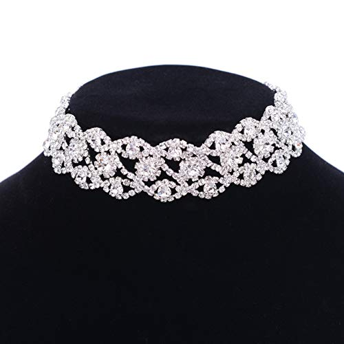 (Paxuan Luxury Womens Clear Rhinestone Crystal Silver Choker Necklace Wide Collar Necklace Adjustable (Silver Plated White)