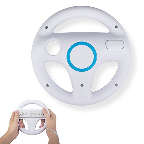 Wii Racing Game Steering Wheel (Mario Kart Wii Steering Wheels, TechKen Mario Kart Racing Wheel for Nintendo Wii, Mario Kart, Tank, more Wii or Wii U racing games (White))