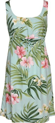 RJC Womens Hibiscus Orchid Fern Empire Tie Front Short Tank Dress Aqua 3X Plus by RJC
