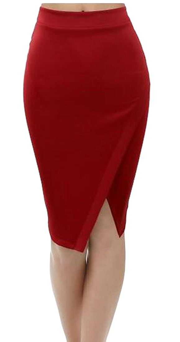 181e9fde96a Etecredpow Womens Slit Solid Stretch Pencil Slim Fit High Waisted Bodycon  Mid-Long Skirts at Amazon Women's Clothing store:
