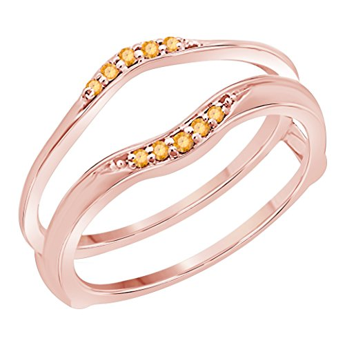 Silver Gems Factory 14K Rose Gold Finish Delicate Combination Curved Style Vintage Wedding Ring Guard Enhancer with CZ Yellow Citrine (1/6 ct. tw.)