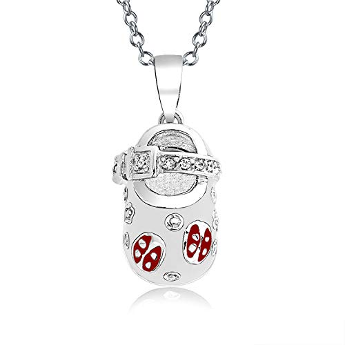 Baby Shoe Charm Pendant Necklace For New Mother Women Lucky White Enamel Red Ladybug CZ Heart Engravable Sterling Silver