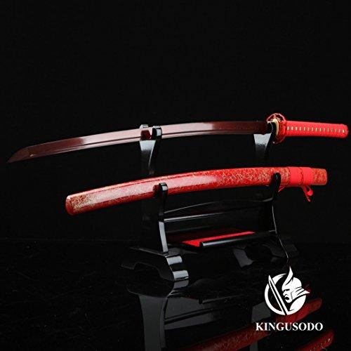 Battle Ready Katanas (Katana Sword, Pattern Steel Real Battle Ready Red Katana Full Tang With Sheath)