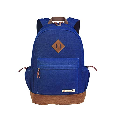 Outbound Canvas Backpack | School Backpack for Boys & Girls | 17.7 Inch | Blue