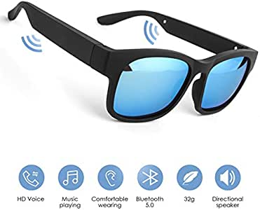 GELETE Smart Glasses Wireless Bluetooth Sunglasses Open Ear Music&Hands-Free Calling,for Men&Women,Polarized Lenses,IP7 Waterproof,Connect Mobile Phones and Tablets (Blue)