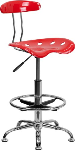 Flash Furniture Vibrant Cherry Tomato and Chrome Drafting Stool with Tractor Seat Bar Stool Red Seat Assembled