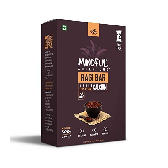 EAT Anytime Mindful Ragi Millet Snack Bars Loaded with Calcium, 300 g (12 x 25g)