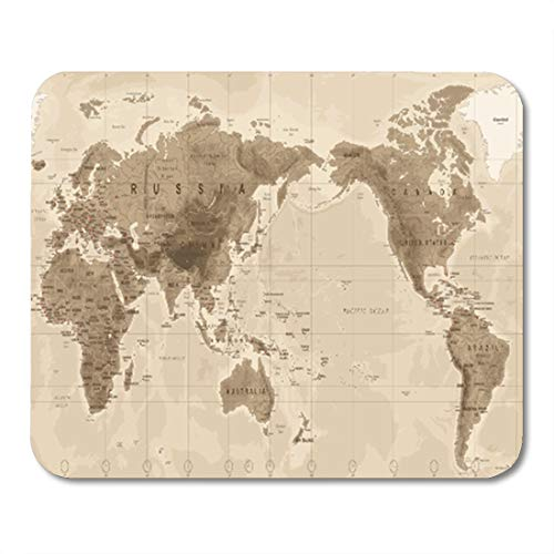 Semtomn Gaming Mouse Pad Brown World Map Physical Vintage Asia in Center China Korea 9.5