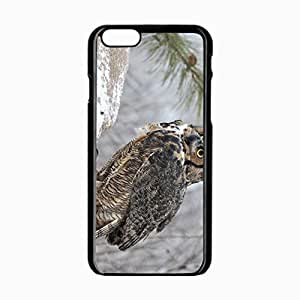 iPhone 6 Black Hardshell Case 4.7inch owl snow Desin Images Protector Back Cover