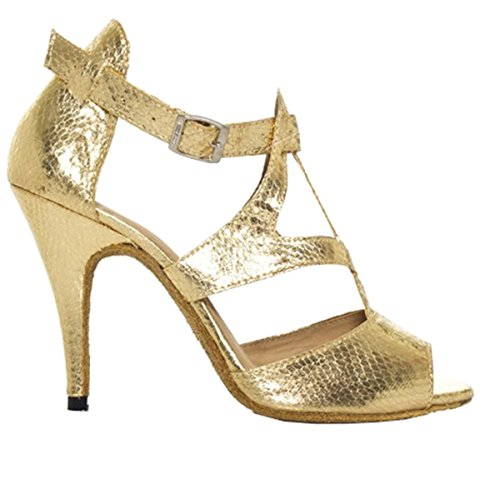 Minishion QJ7008 Womens T-strap Leather Salsa Tango Ballroom Latin Party Wedding Dance Shoes Gold YdMi3ek