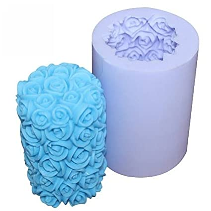 Allforhome(TM) Valentines Day Wedding Rose Cylinder Flower Silicone Candle DIY Mold Handmade Soap