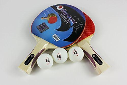 3 Ping Pong Balls Vortex 2 Player Table Tennis Racket Set 2 Paddles