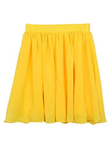 TOOGOO(R) Mode-Retro-hohe Taille Double-Layer-Chiffon faltete mini kurzer Rock - gelb FAgwpG