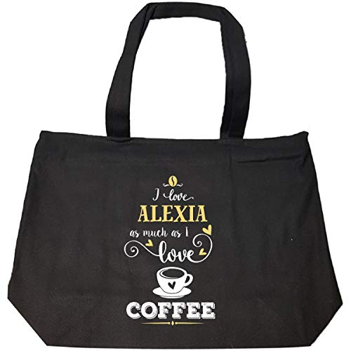 I Love Alexia As Much As I Love Coffee Gift For Him - Tote Bag With Zip