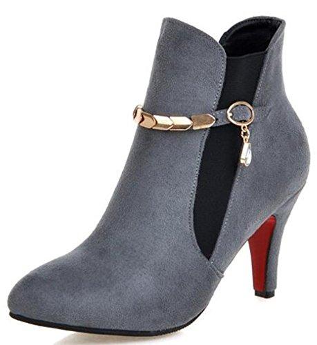 Idifu Kvinna Sexig Faux Mocka Spetsiga Tå Hög Stilettklackar Boots Med Hänge Grå