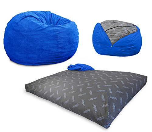 (CordaRoy's Bean Bag Chair, Corduroy Convertible Chair Folds from Bean Bag to Bed, As Seen on Shark Tank - Royal Blue, Full)