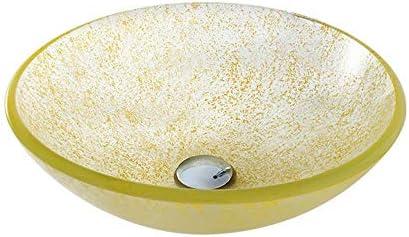 洗面ボウル 強化ガラス容器の洗面化粧台シンクラウンドボウルでオイルラバーブロンズの蛇口、ポップアップドレインコンボ 浴室の台所の流し (Color : Pink, Size : 42x42x14.5cm)