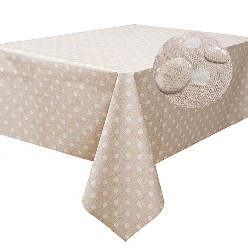 (LEEVAN Heavy Weight Vinyl Square Table Cover Wipe Clean PVC Tablecloth Oil-Proof/Waterproof Stain-Resistant-54 x 108 Inch (Polka Dot))