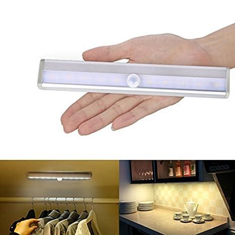 Detector de movimiento de pared Luz para armario, minkoll 10 LED PIR sensor de movimiento