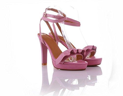 Allhqfashion Dames Zacht Materiaal Metalen Open Neus Hoge Hakken Degelijke Sandalen Roze