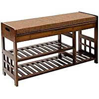 【Newest Version】 Shoe Rack Bench (35.2 X 11.4 X 19.1) 2-Tier Entryway Shoe Storage Organizer Seat Storage Shelf Bench with Cushion and Storage Drawer, Antique Brown
