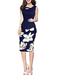 FORTRIC Women Elegant Summer Peplum Wear to Work Office Party Midi Pencil Dress