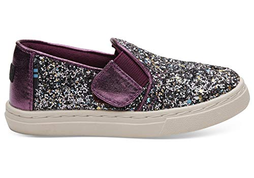 TOMS Kids Baby Girl's Luca (Infant/Toddler/Little Kid) Plum Party Glitter/Metallic Canvas Mix 3 M US Infant -