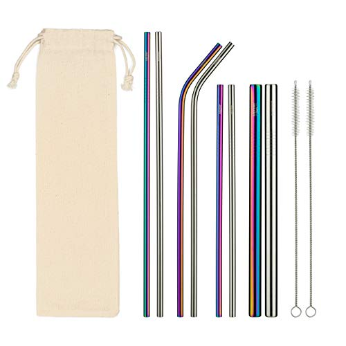 (Stainless Steel Drinking Straws - COMPLETE Set - 8 straws, 2 Brush Cleaners & Travel Case - Eco Friendly - Straight & Bent PLUS Wide Smoothie/Boba Straws - Perfect For 20, 30oz. Yeti/RTC Tumblers etc. )