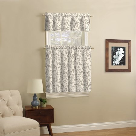 Mainstays Small Wndow Curtain Set, Taupe Leaf, 3 Piece