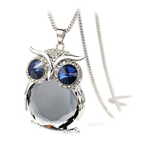 Charmant Women Necklace Owl Pendant Rhinestone Sweater Chain Long Necklaces Jewelry Ornaments Exquisite Torque Trinket,B,China