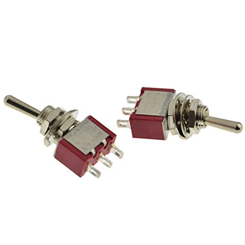 Each Toggle (2x AC125V 5A or AC 250V 3A SPDT 6mm Thread 2 Position Toggle Switch ON-ON Red)