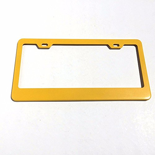 UFRAME Stainless Steel License Plate Frame Holder 2 Screw Holes w Adjustable Space (Yellow)