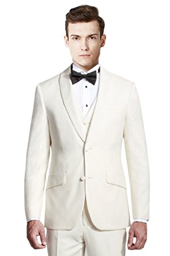 Mys fatto su misura da uomo scialle risvolto tuta pantaloni gilet cravatta, colore crema