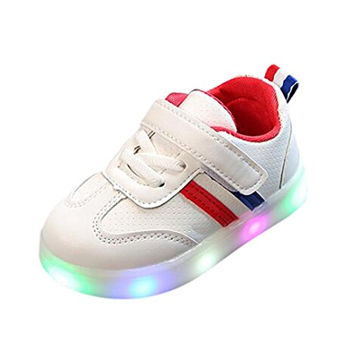 FEITONG Toddler Kids Sport Running Baby Boys Girls Stripe Flower LED Luminous Shoes Sneakers