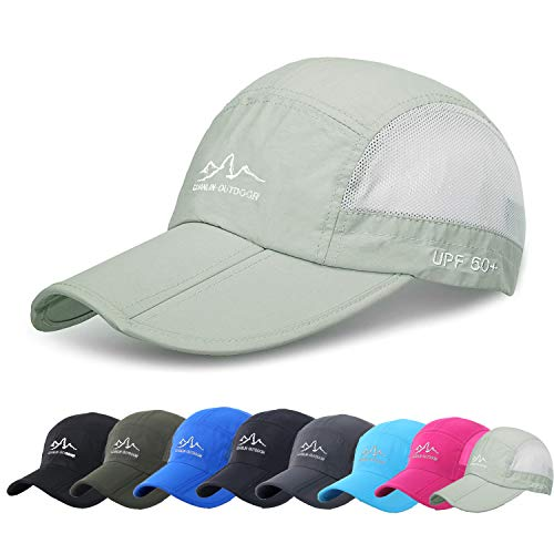 Baseball Cap Mens Sun Hats Cooling Quick Dry Visor UPF 50+ Breathable Outdoor Caps with Foldable