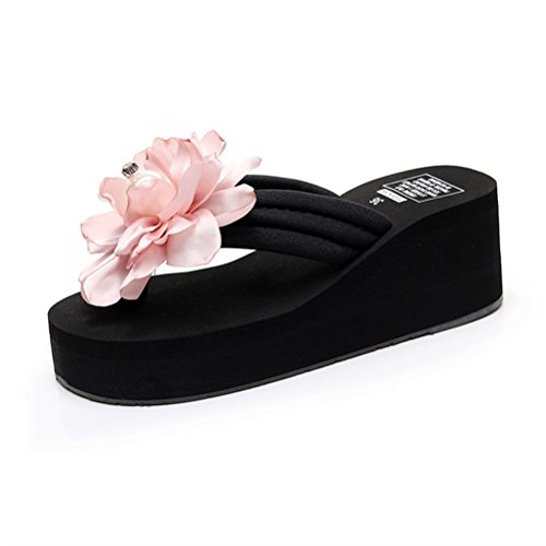 - Flyrioc Womens Plumeria Flower High Platform Wedge Flip Flop Thong Sandals Pink US 8.5