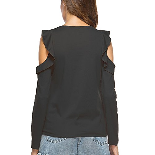 paule Shirt Femmes Sexy Juleya en Noir Tops Chemisier Causal Hollow coton 1Oxw0zBqw
