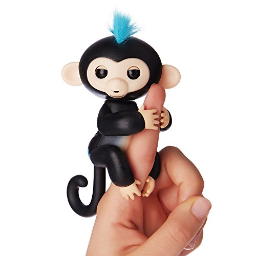 Fingerlings   Interactive Baby Monkey   Finn  Black With Blue Hair  By Wowwee