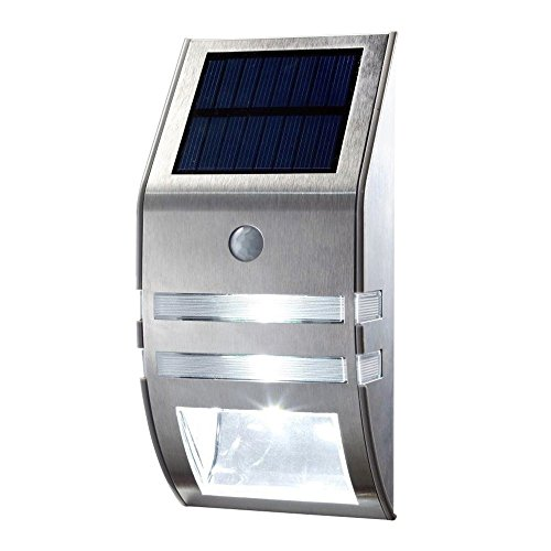 Cheap Segnew IP65 1.5W Outdoor LED Solar Wall/Stair Light H2555,PIR Human Motion Sensor,Stainless steel(Silver Shell) (warm white)