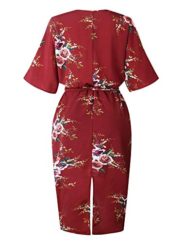 Split with Short Sleeve Dresses Womens Allumk Red Belt V Casual Neck Wine Boho Floral Dress wq4T8XP