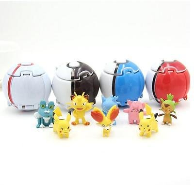 By NISHMIAK Hot Product - 4Pcs Automatically Throw Balls + 4 Pcs Random Miniature Figures Creative Action Toy For Anime And Game Fans by New Brand