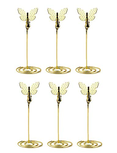 XP-Art Memo Clips Holders with Alligator Clips and Butterfly Shape Photo Holder Stand Place Card Holders for Wedding Party Favors, 6 Pack (Gold)