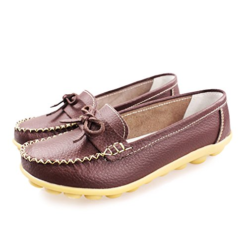Blivener Womens Walking Mocassino Comfort Casual In Pelle Marrone