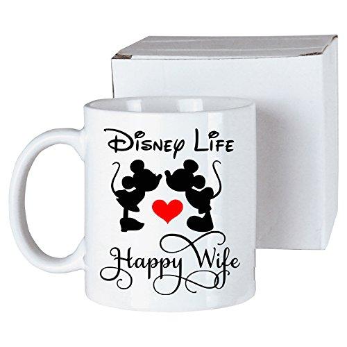 Mickey Mouse Happy Wife Happy Life Coffee Cup Mug Minnie Mouse Walt Disney World Funny Saying Birthday Gift Disney Gift Magic Kingdom Disney Life Cool Super Amazing Funny Happy Great Gag Gift]()